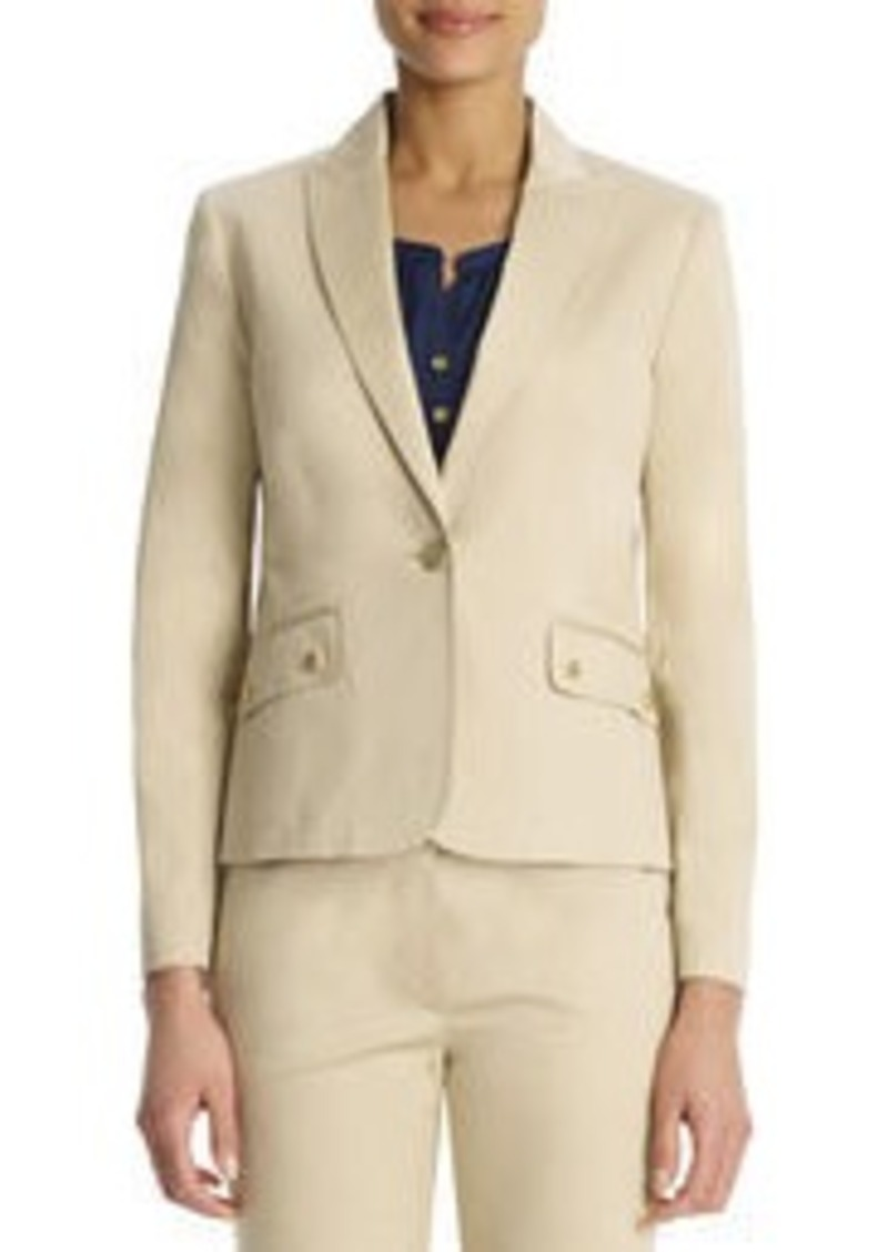 Jones New York Stretch Cotton One Button Blazer