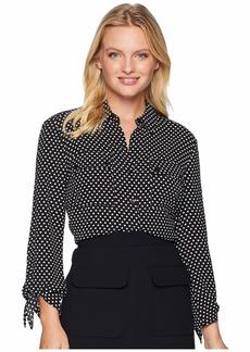 Jones New York Tie Sleeve Button Up Shirt