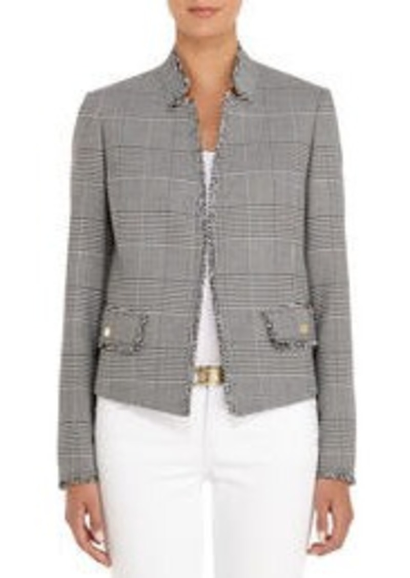 Jones New York Tweed Blazer in Black and Ivory Plaid