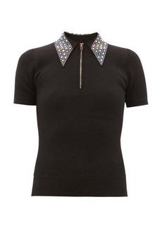 JoosTricot Crystal-collar cotton-blend peachskin polo shirt