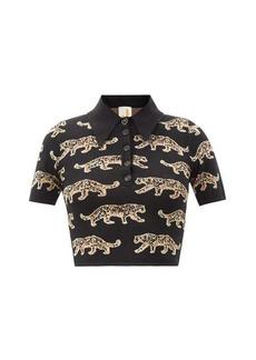 JoosTricot Leopard-jacquard polo crop top