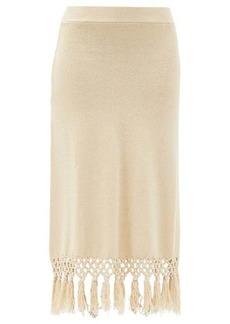 JoosTricot Macramé-hem knitted linen-blend skirt