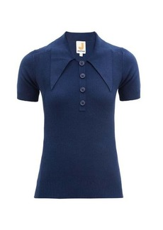 JoosTricot Oversized point-collar cotton-blend polo shirt