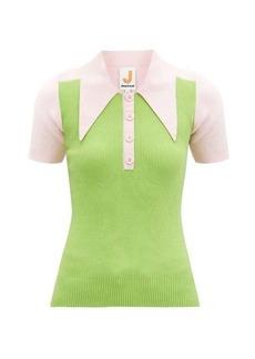 JoosTricot Panelled cotton-blend peachskin polo shirt