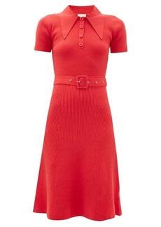 JoosTricot Peachskin point-collar ribbed cotton-blend dress
