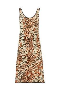 JoosTricot Scoop-neck leopard-jacquard midi dress