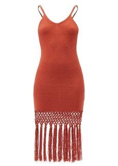 JoosTricot Tasselled linen-blend jersey dress