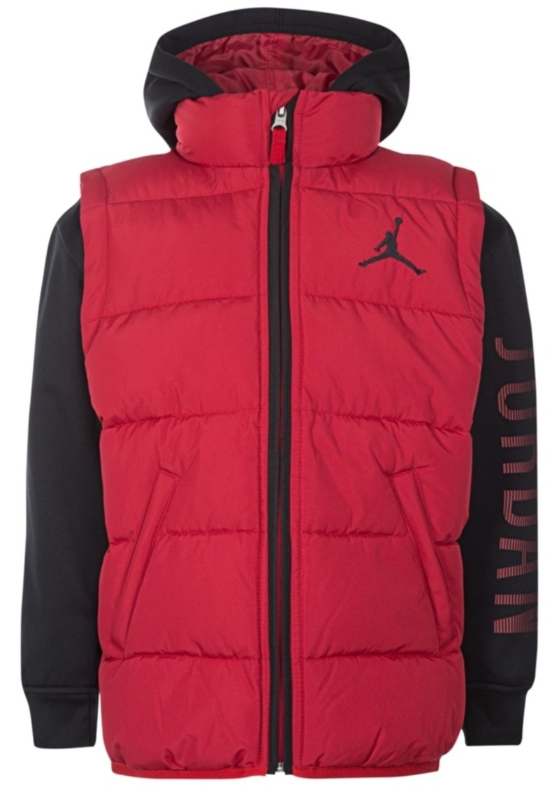 a5a156f1583aeb Jordan Jordan Aj Hooded Layered-Look Puffer Vest Jacket