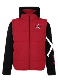 Jordan Little Boys Layered-Look Hooded Puffer Jacket