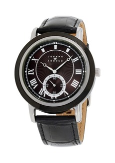 Joseph Abboud Men's Analog Black Leather Strap Watch 28mm