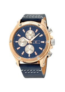 Joseph Abboud Men's Analog Rose Gold Case Leather Watch