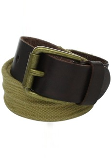Joseph Abboud Men's Fabric Belt with Leather Trim