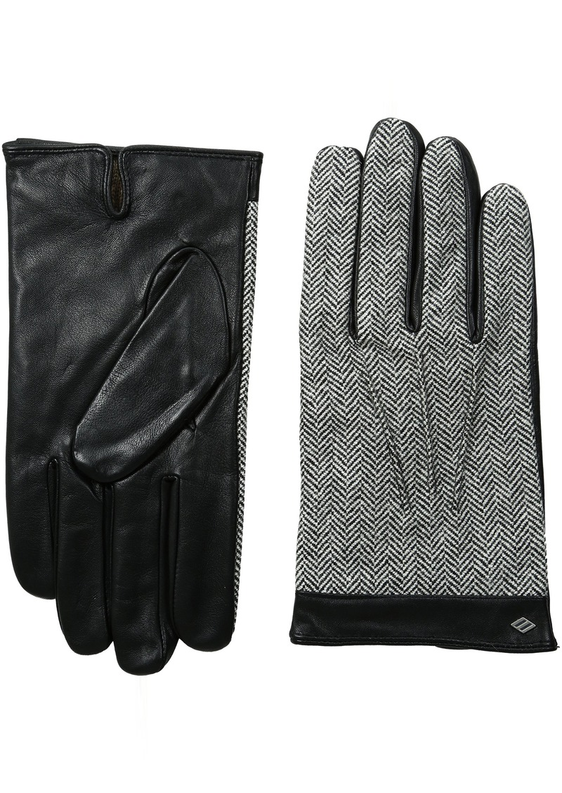 Joseph Abboud Men's Tweed and Fine Leather Gloves with Lambswool Lining Black