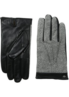 Joseph Abboud Men's Tweed and Fine Leather Gloves with Lambswool Lining