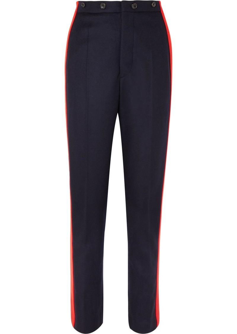Joseph Annam Striped Wool And Cashmere-blend Felt Straight-leg Pants