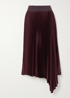 Joseph Asymmetric Pleated Crepe Midi Skirt