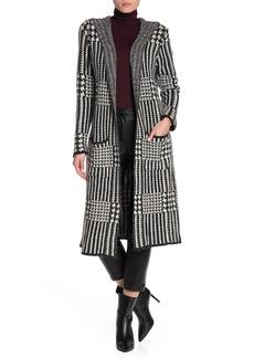 Joseph Canterbury Plaid Hooded Maxi Jacket