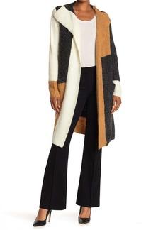 Joseph Colorblock Open Front Long Cardigan Sweater Coat