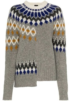 Joseph fair isle patchwork wool jumper