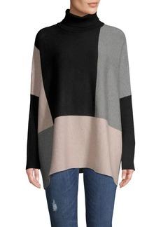 Joseph A Colorblock Long-Sleeve Poncho Sweater