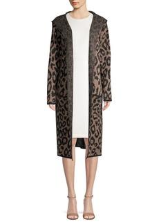Joseph A Leopard Printed Hooded Open Cardigan