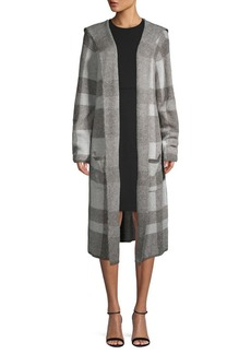 Joseph A Plaid Open-Front Hooded Coat
