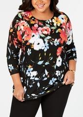 Joseph A Plus Size Floral-Print Sweater
