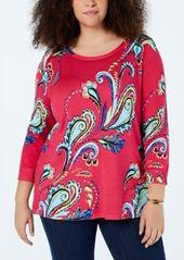 Joseph A Plus Size Paisley-Knit Tunic Sweater