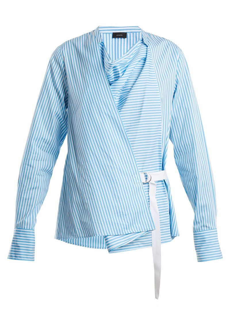 Joseph Arran striped cowl-neck wrap shirt
