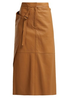 Joseph Beck wrap leather midi skirt
