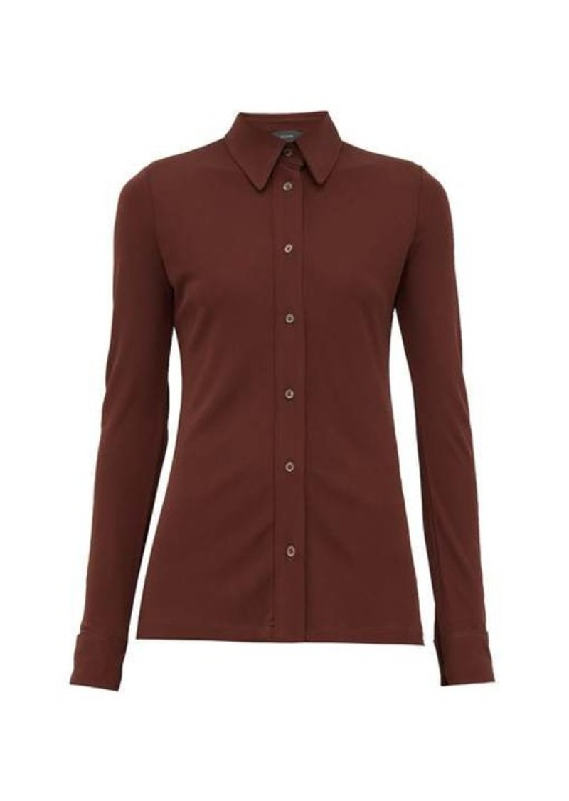Joseph Button-down crepe-jersey shirt