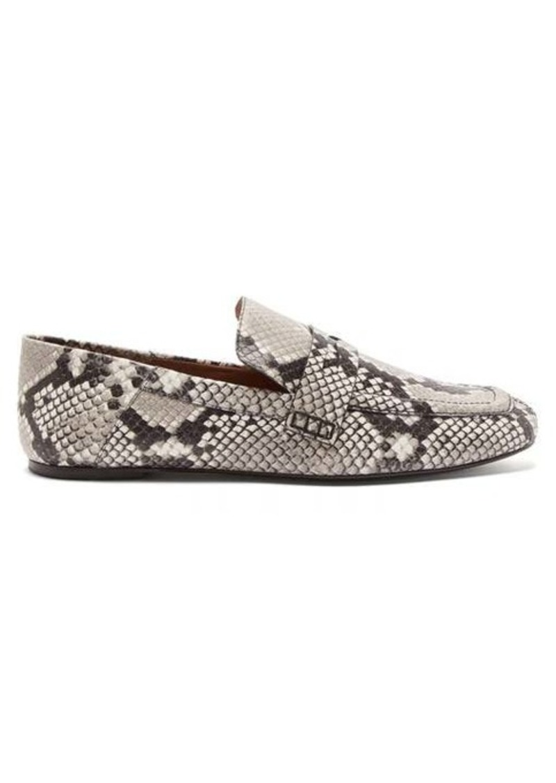 Joseph Collapsible-heel python-print leather loafers