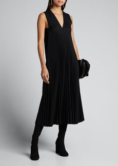 Joseph Enid Sleeveless Pleated Wool Midi Dress