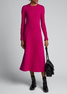 Joseph Lison Pure Cashmere Knit Long-Sleeve Midi Dress