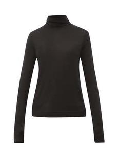 Joseph Logo-embroidered roll-neck silk sweater