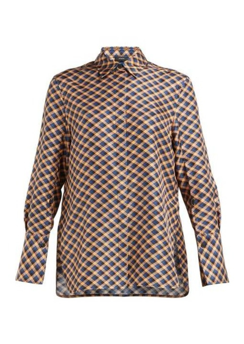 Joseph Mason diamond-print silk-satin shirt
