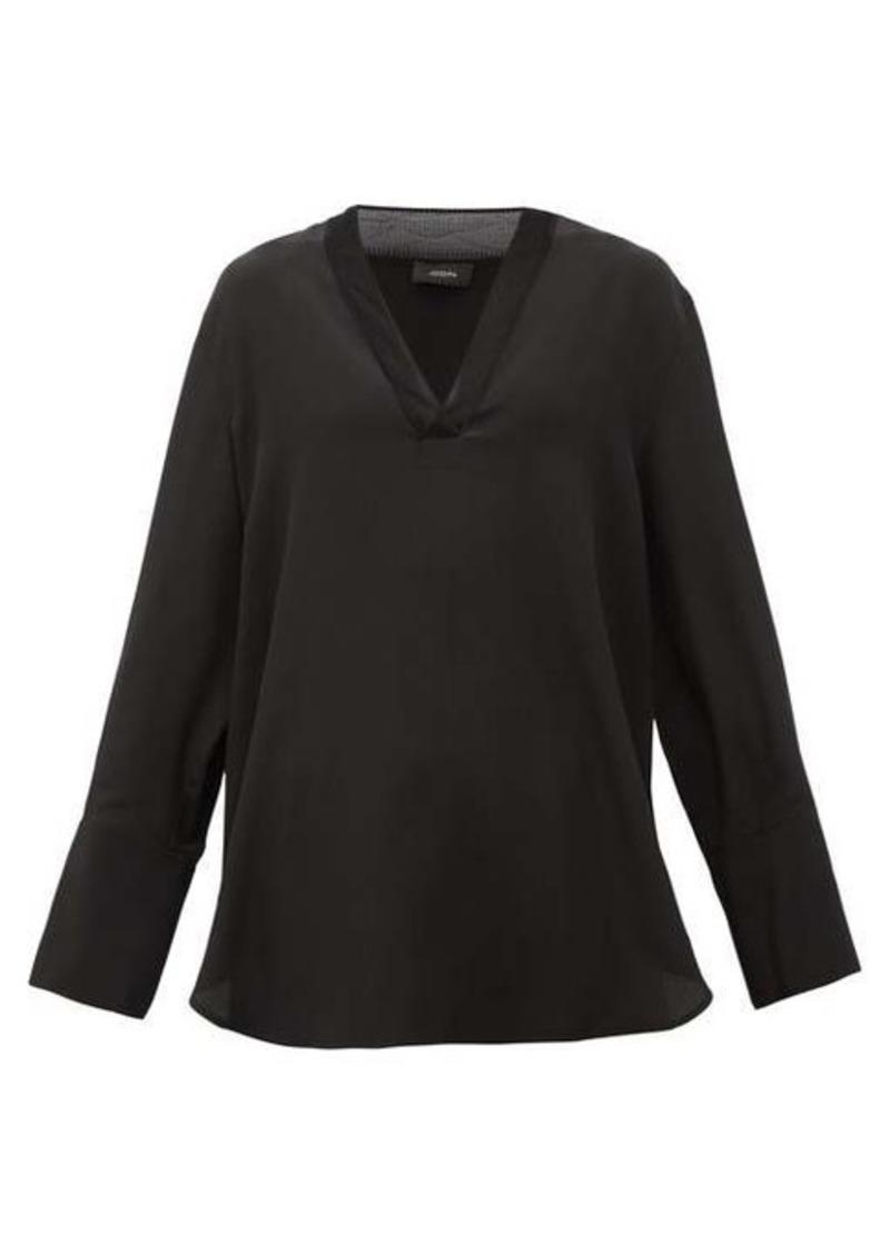 Joseph Miller V-neck silk crepe de Chine blouse