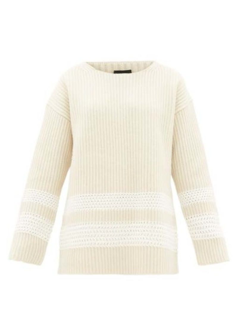 Joseph Oversized crochet-panel wool-blend sweater