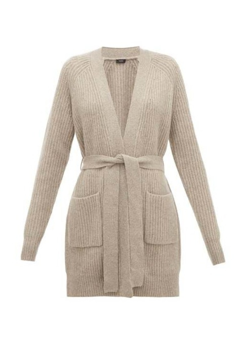 Joseph Patch-pocket belted ribbed-cashmere cardigan