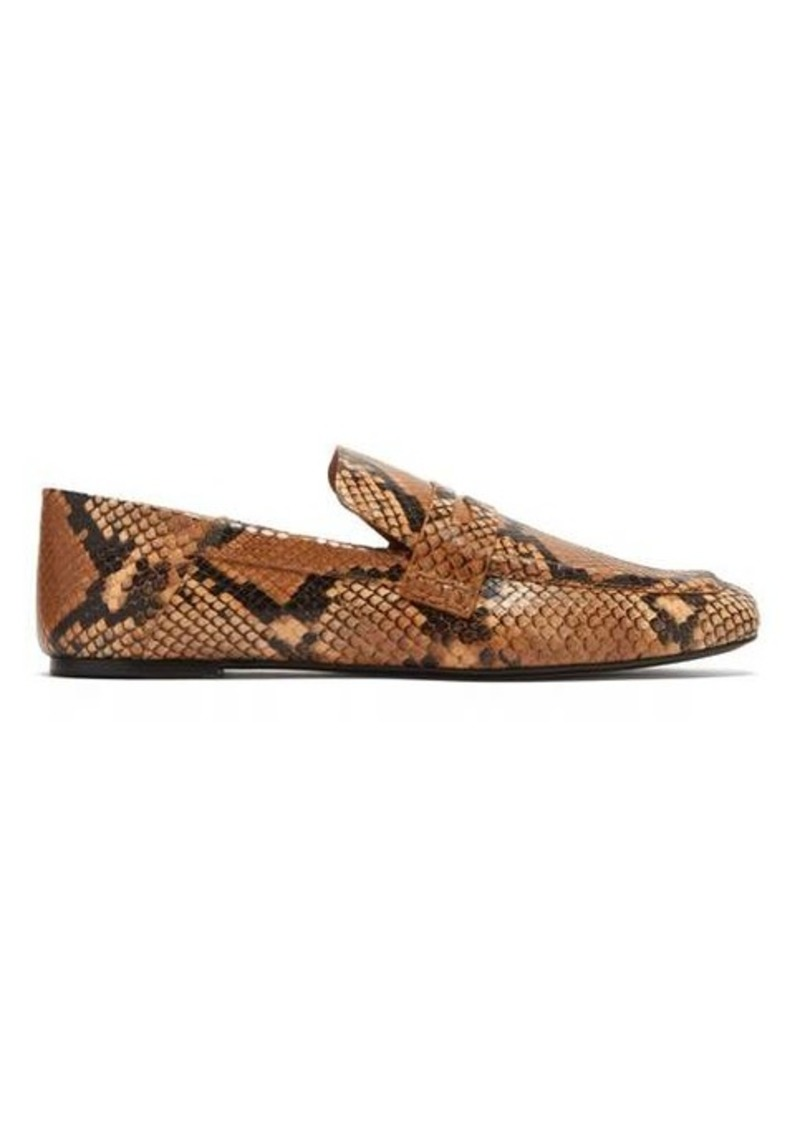 Joseph Python-embossed collapsible-heel leather loafers