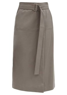 Joseph Salic leather wrap midi skirt