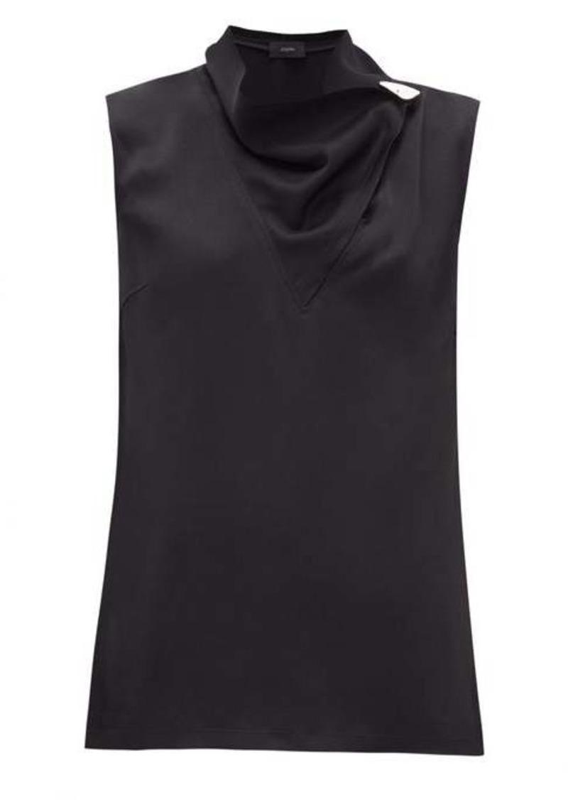 Joseph Siof draped-neck crepe blouse