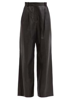 Joseph Tima pleated leather wide-leg trousers