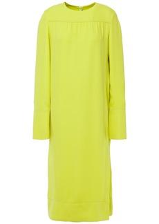 Joseph Woman Gathered Silk-crepe Midi Dress Lime Green