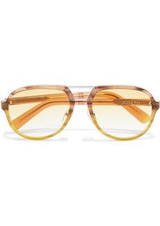 Joseph Woman Duke Aviator-style Marbled Acetate Sunglasses Light Brown