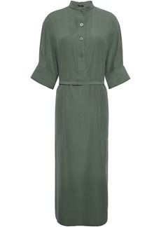 Joseph Woman Barker Belted Washed-silk Midi Shirt Dress Forest Green