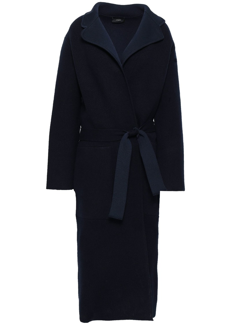 Joseph Woman Belted Wool-blend Coat Navy