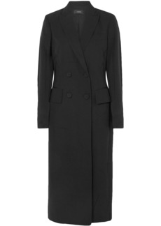 Joseph Woman Best Double-breasted Crinkled-cady Coat Black