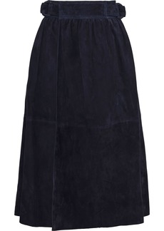 Joseph Woman Betty Gathered Suede Midi Wrap Skirt Navy