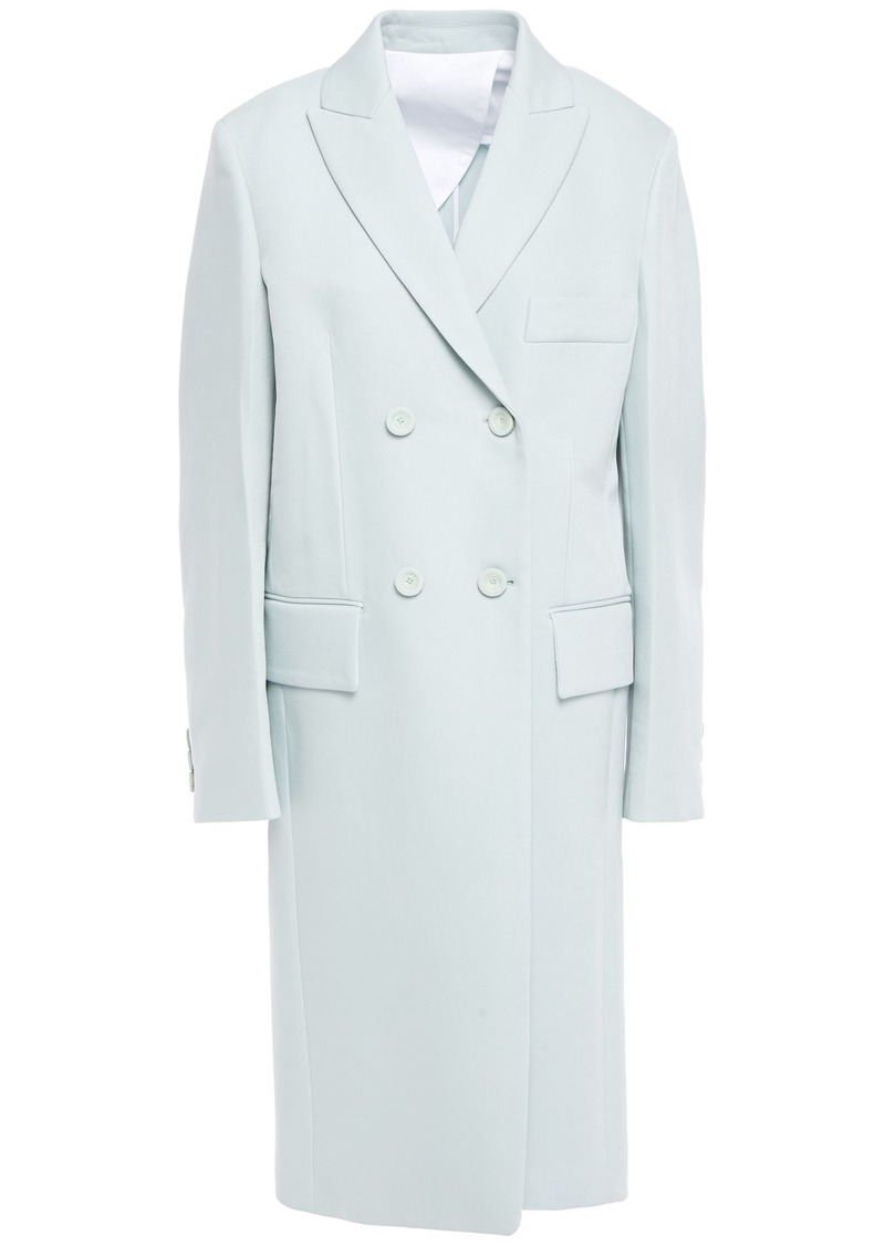Joseph Woman Bianco Double-breasted Twill Coat Sky Blue